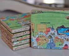 Vintage Magic Kingdom Map Coasters