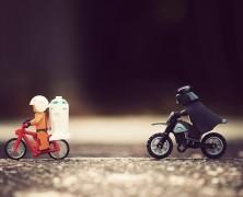 Vader Chasing Luke on a Motorbike Print