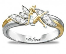 Tinker Bell Sterling Silver and Gold Ring