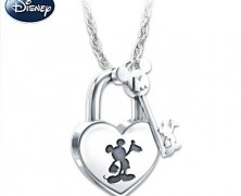 Mickey Mouse Lock and Key Pendant Necklace
