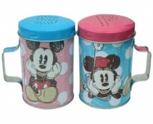 Mickey and Minnie Tin Salt and Pepper Shakers