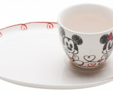 Mickey and Minnie Cookie and Milk Porcelain Set