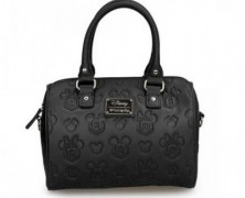 Mickey and Minnie Embossed Black Handbag